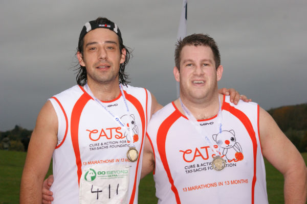 Dan Lewi and Dan How at the end of the Brentwood Marathon